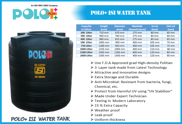 Polo Plus Containers - Unbreakable WATER Storage Tank & Solar Water